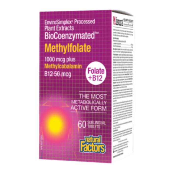 Methylfolate 1000mcg plus Methylcobalamin B12 50mcg Folate + B12 60 Sublingual Tablets Natural Factors