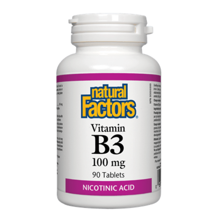 Vitamin B3 Nicotinic Acid 100mg 90 Tablets Natural Factors