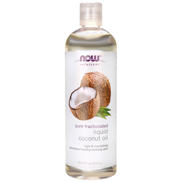 Pure Fractionated Liquid Coconut Oil 473ml Now Foods