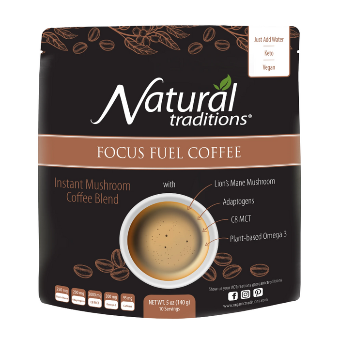 Focus Fuel Coffee 10 Servings Mushroom Coffee Blend Natural Traditions