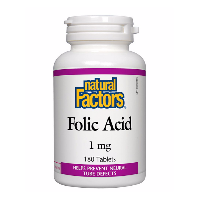 Folic Acid 1mg 180 Tablets Natural Factors