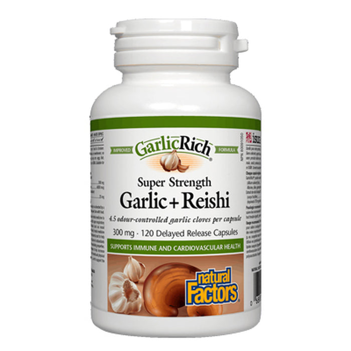 GarlicRich Super Strength Garlic + Reishi 300mg 120 Capsules Natural Factors