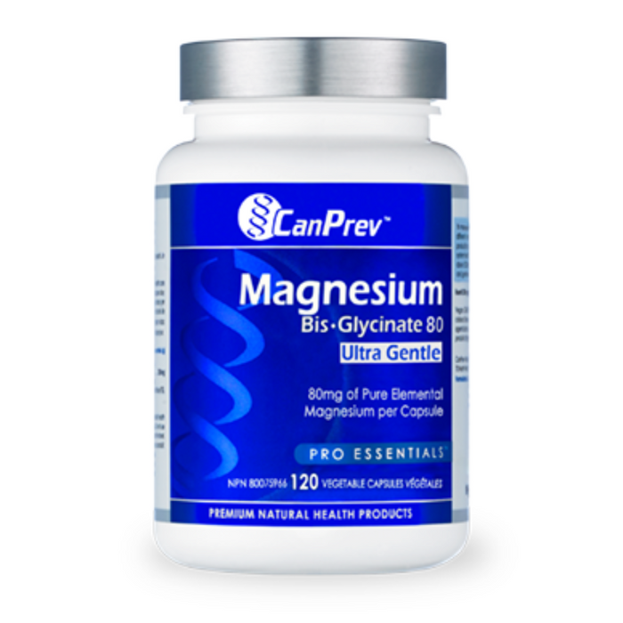 Magnesium Bis-Glycinate Ultra Gentle 80mg 120 Capsules CanPrev
