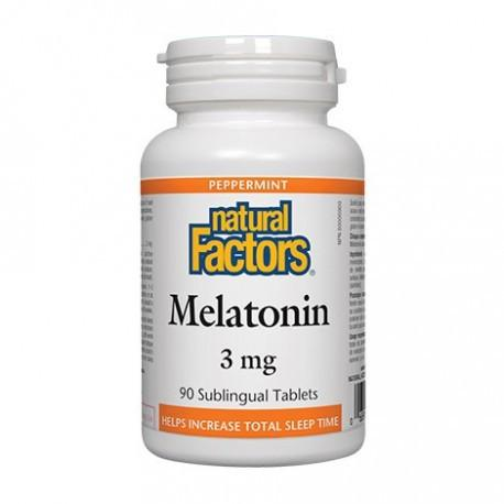 Melatonin 3mg Peppermint Sublingual Tablets Natural Factors