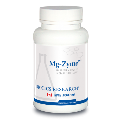Mg-Zyme Magnesium Complex 100 Tablets Biotics Research Canada