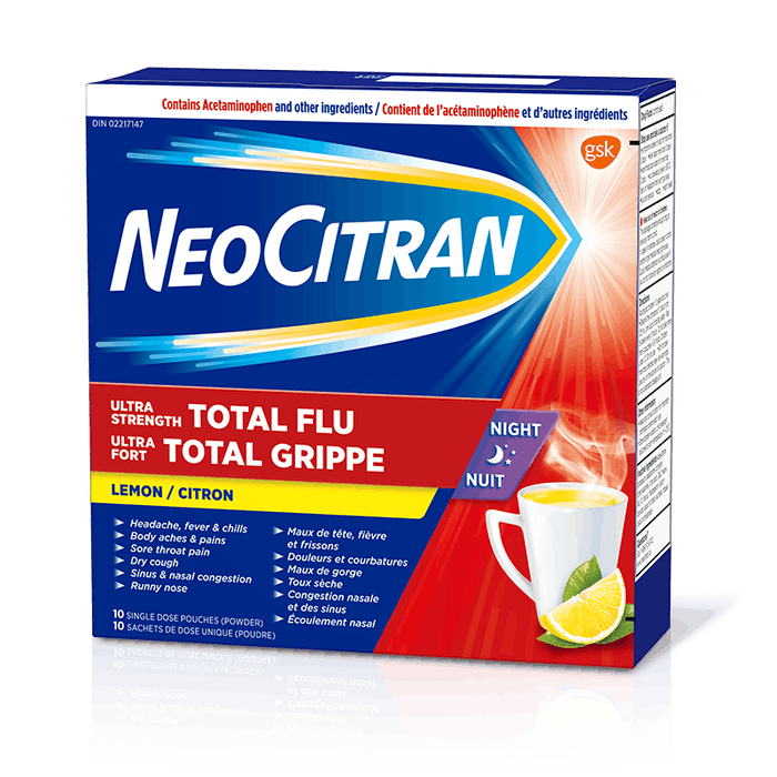 Neo Citran Extra Strength Total Flu Nighttime Relief 10 Packets