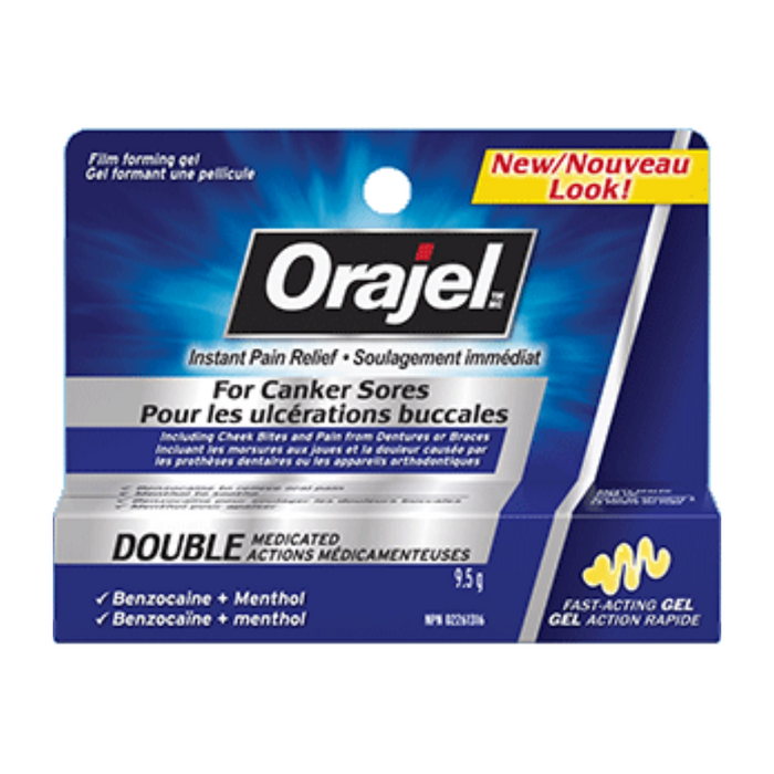 Orajel Instant Pain Relief for Canker Sores Double Medicated 9.5g Fast Acting Gel