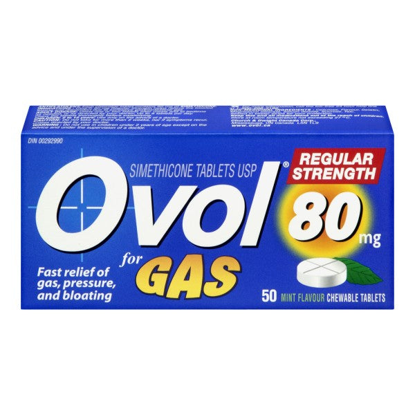 Ovol for Gas 80mg Simethicone Tablets 50 Mint Flavoured Tablets
