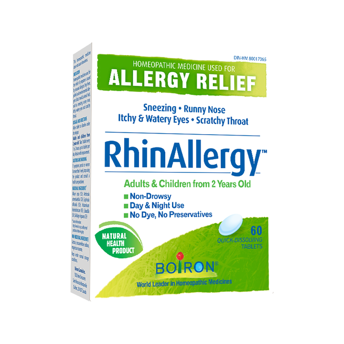 RhinAllergy Homeopathic Allergy Relief 60 Quick Dissolving Tablets Boiron