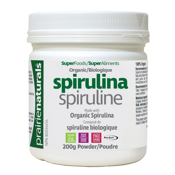 Spirulina Pure Blue Green Algae 200g Powder Prairie Naturals