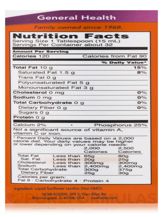 Sunflower Lecithin 473ml Now Foods