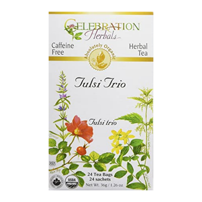 Tulsi Trio Herbal Tea 24 Tea Bags Celebration Herbals