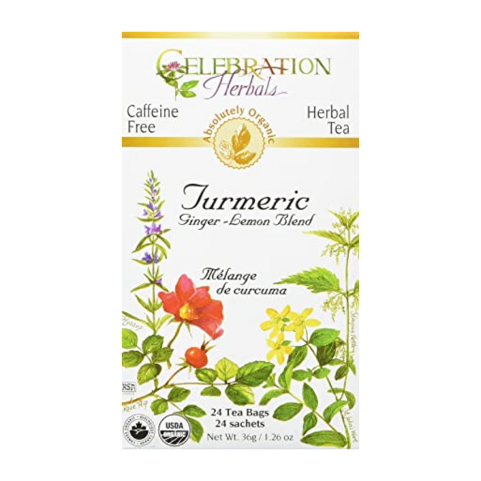 Turmeric Ginger Lemon Blend Herbal Tea 24 Tea Bags Celebration Herbals