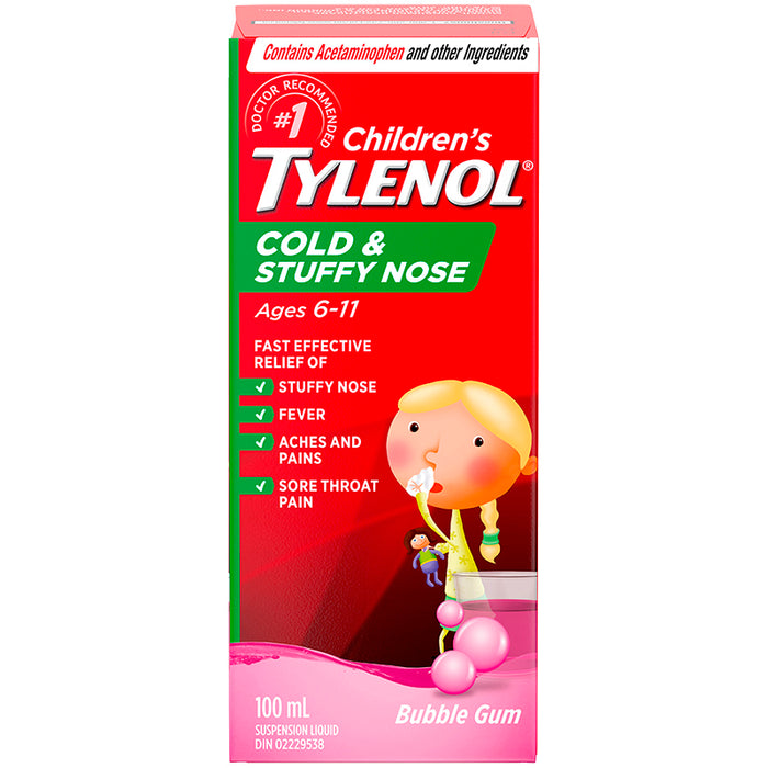 Children's Tylenol Cold & Stuffy Nose Bubble Gum Flavour