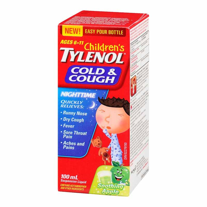 Children's Tylenol Cold & Cough Nighttime Green Apple Flavour
