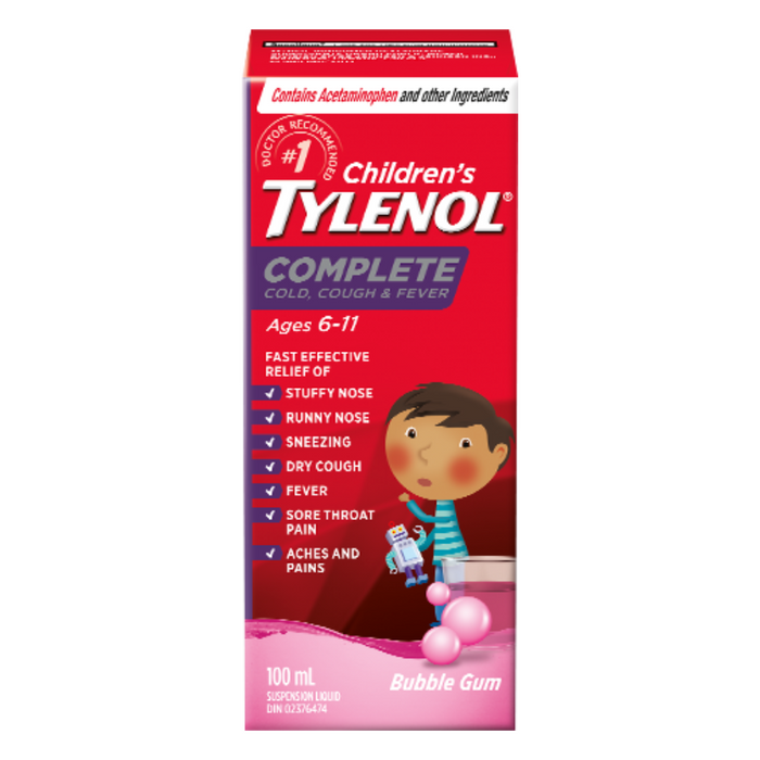Children's Tylenol Complete Cold, Cough & Fever Bubble Gum Flavour