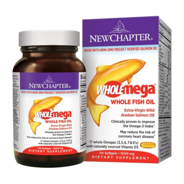 WholeMega Whole Fish Oil 1000mg 120 Softgels New Chapter