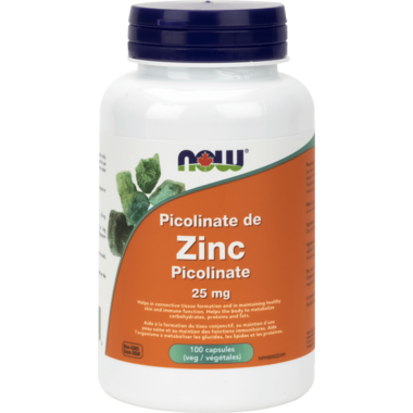 Zinc Picolante 25 mg 100 Capsules Now Foods