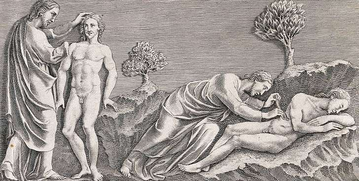 Adam using his rib to give birth to Eve