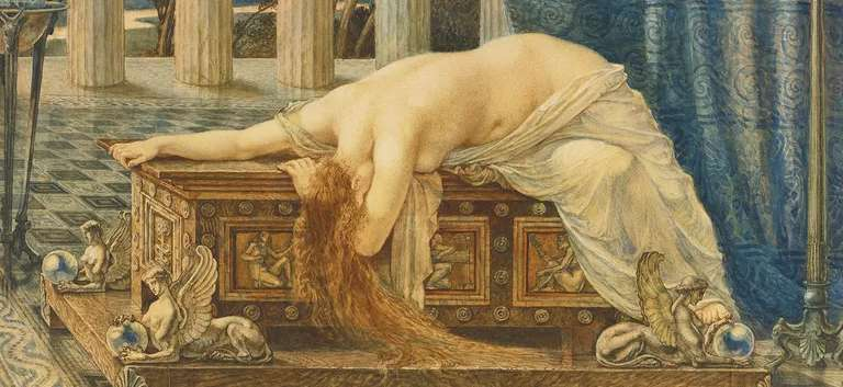 Painting of Pandora lying upon her box