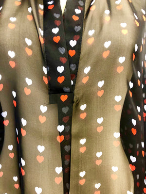 Silk. Transparent Silk Bespoked Blouse with Hearts pattern, limited edition Made in Como Italy. Camiccia Seta Comasca Sartoriale fine Rotolo