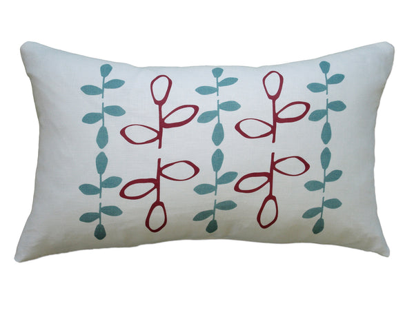 Branch pillow red/blue