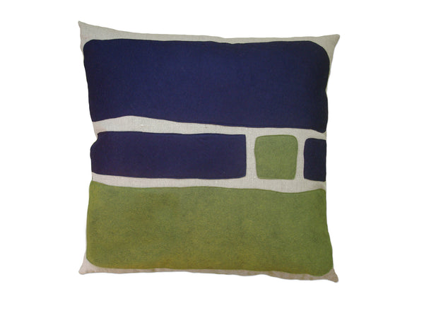 Big Block pillow navy/leaf