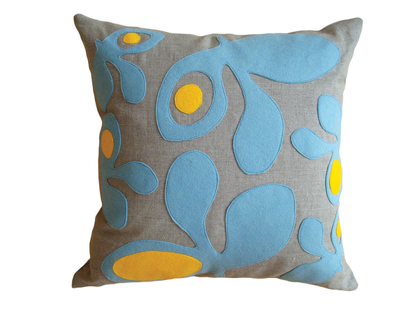 Pods felt pillow blue/yellow NPOD16