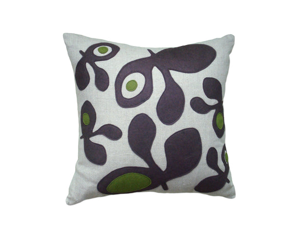 Pods felt pillow chocolate/moss