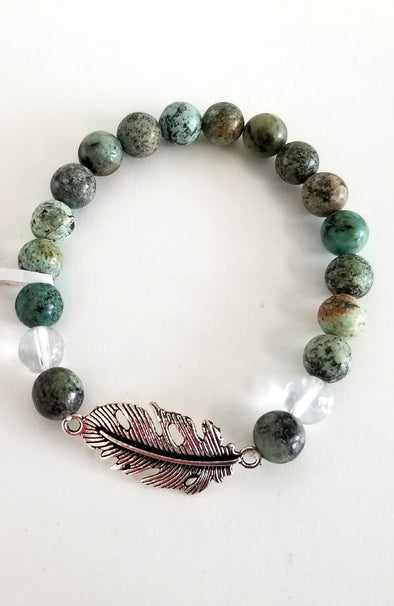Gemstone Bead Bracelet - African Turquoise and Quartz
