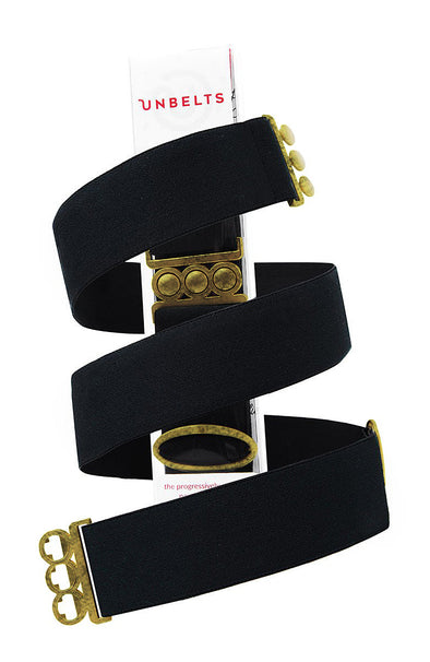 Unbelts Stretch Belt ~ Black with Bronze Buckle