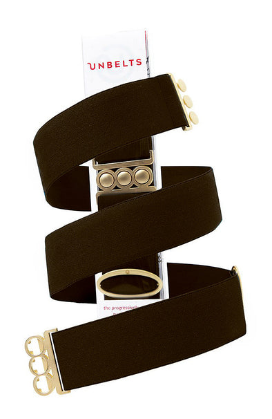 Unbelts Stretch Belt ~ Deep Espresso with Gold Buckle