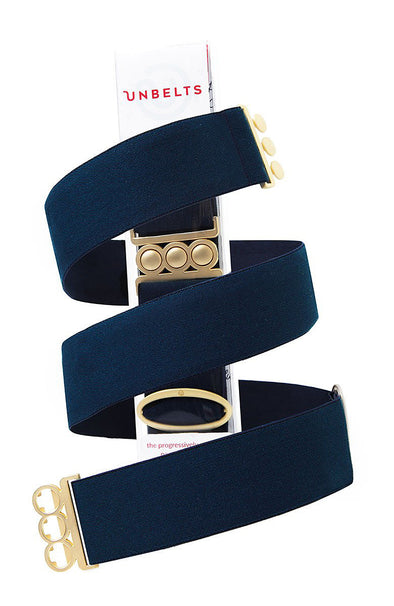 Unbelts Stretch Belt ~ French Navy with Gold Buckle