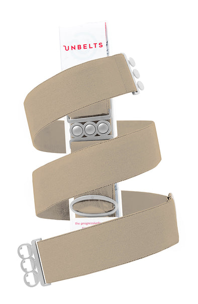 Unbelts Stretch Belt ~ Sand Dune with Silver Buckle