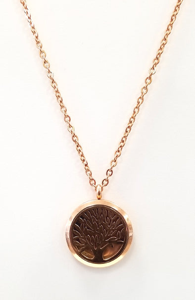 Diffuser Necklace - Tree of Life (Rose Gold)