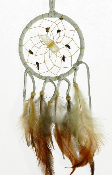 "Vision Seeker Dream Catcher 3"" White with Tiger's Eye"