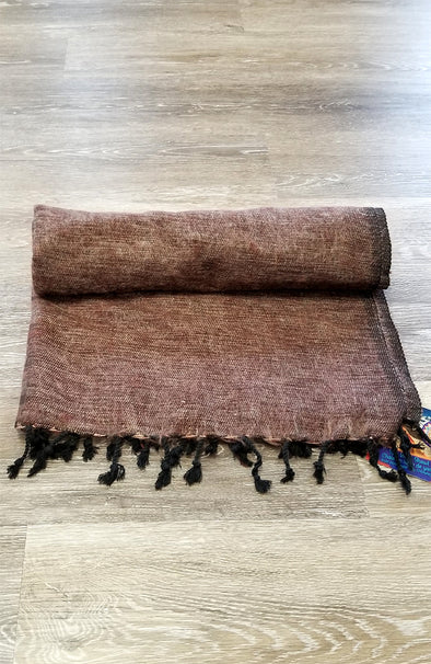 Yak Wool & Cotton Shawl ~ Medium Brown