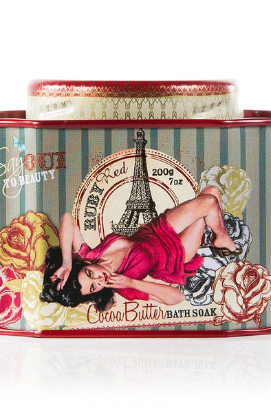 Cocoa Butter Bath Soak Tin - Ruby Red