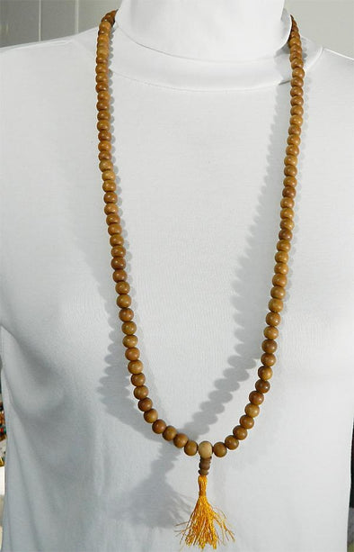 108 Bead Mala Necklace - 10mm Sandalwood Beads