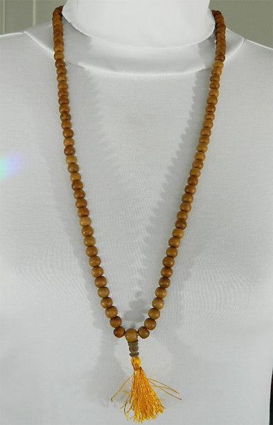 108 Bead Mala Necklace - 8mm Sandalwood Beads