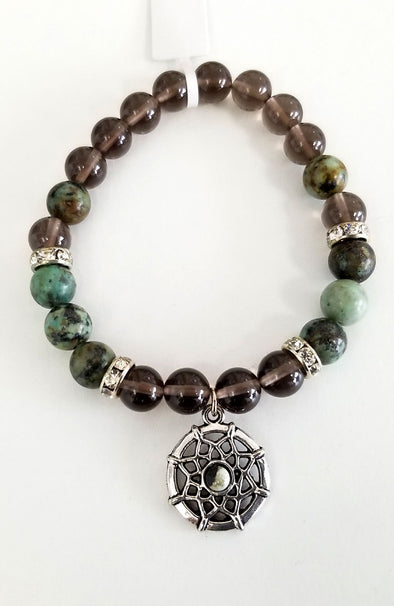 Gemstone Bead Bracelet - African Turquoise and Smoky Quartz