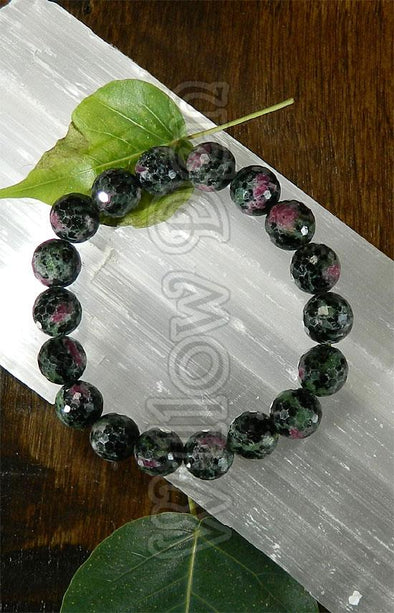 Gemstone Bead Bracelet - Faceted Ruby in Zoisite 10mm