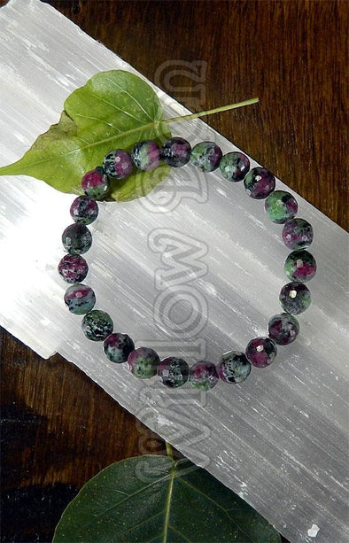 Gemstone Bead Bracelet - Faceted Ruby in Zoisite 8mm