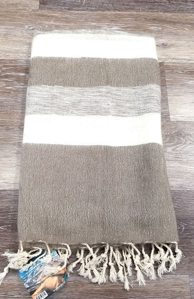 Yak Wool & Cotton Shawl ~ Neutral Stripes 5 (Beige/Tans/Ivory)