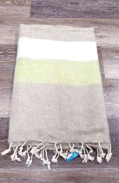 Yak Wool & Cotton Shawl ~ Neutral Stripes 4 (Beige/Lime/Ivory)