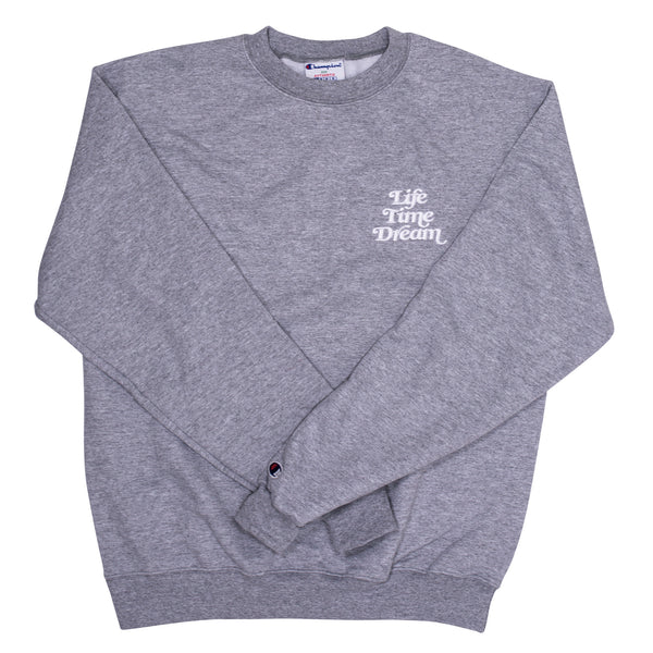 Embroidered Logo / Gray- White Champion Crewneck Sweatshirt