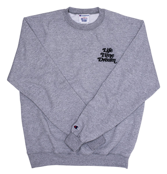 Embroidered Logo / Gray- Black Champion Crewneck Sweatshirt