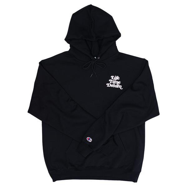 306e1cc0f40df Embroidered Logo   Black Champion Hoodie – LIFE TIME DREAM