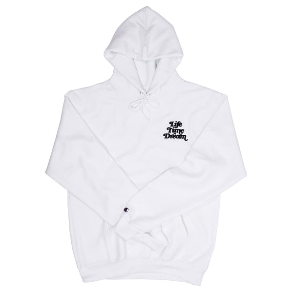 Embroidered Logo / White Champion Hoodie