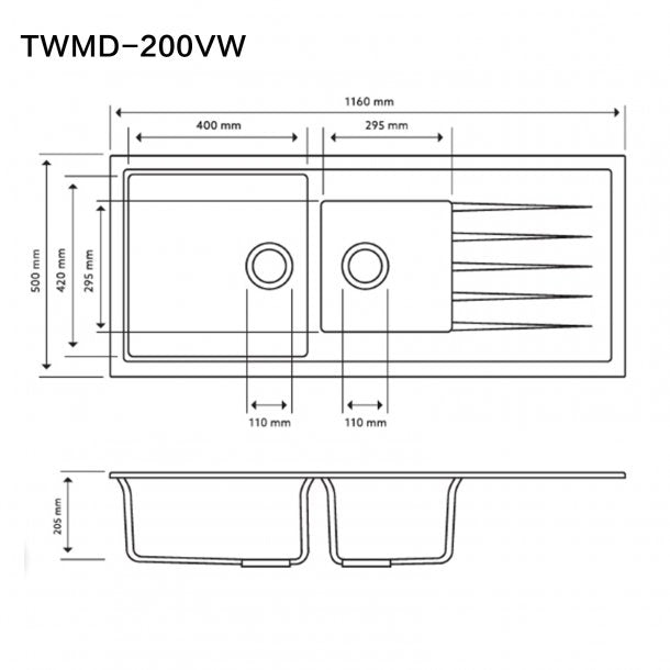 TWMD-200VW 1160 x 500 x 205mm Carysil White 1 and A Half Bowl With Drainer Board Granite Kitchen Sink Top-Flush-Under Mount AQ